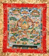 thanka mit dem lebenslauf des historischen buddha shakyamuni